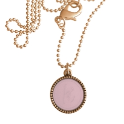 Rose plated wisselbare ketting 90 cm lang inlay large roze