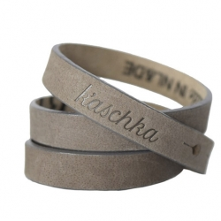 Suede leren armband triple taupe
