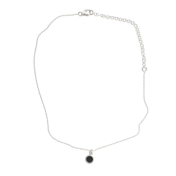 925 sterling zilveren korte ketting vaste kasminis zwart
