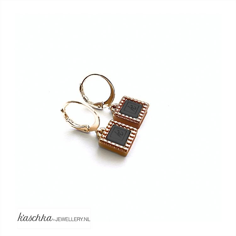 Goud plated oorbel hanger kasminis vierkant