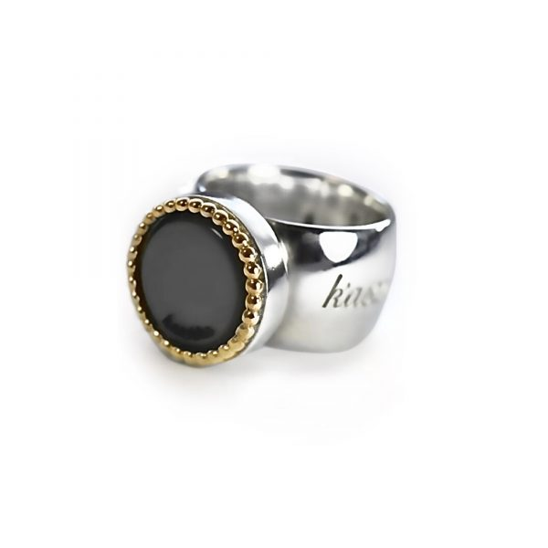 925 sterling zilveren wisselbare ring met 18 karaats gouden rand