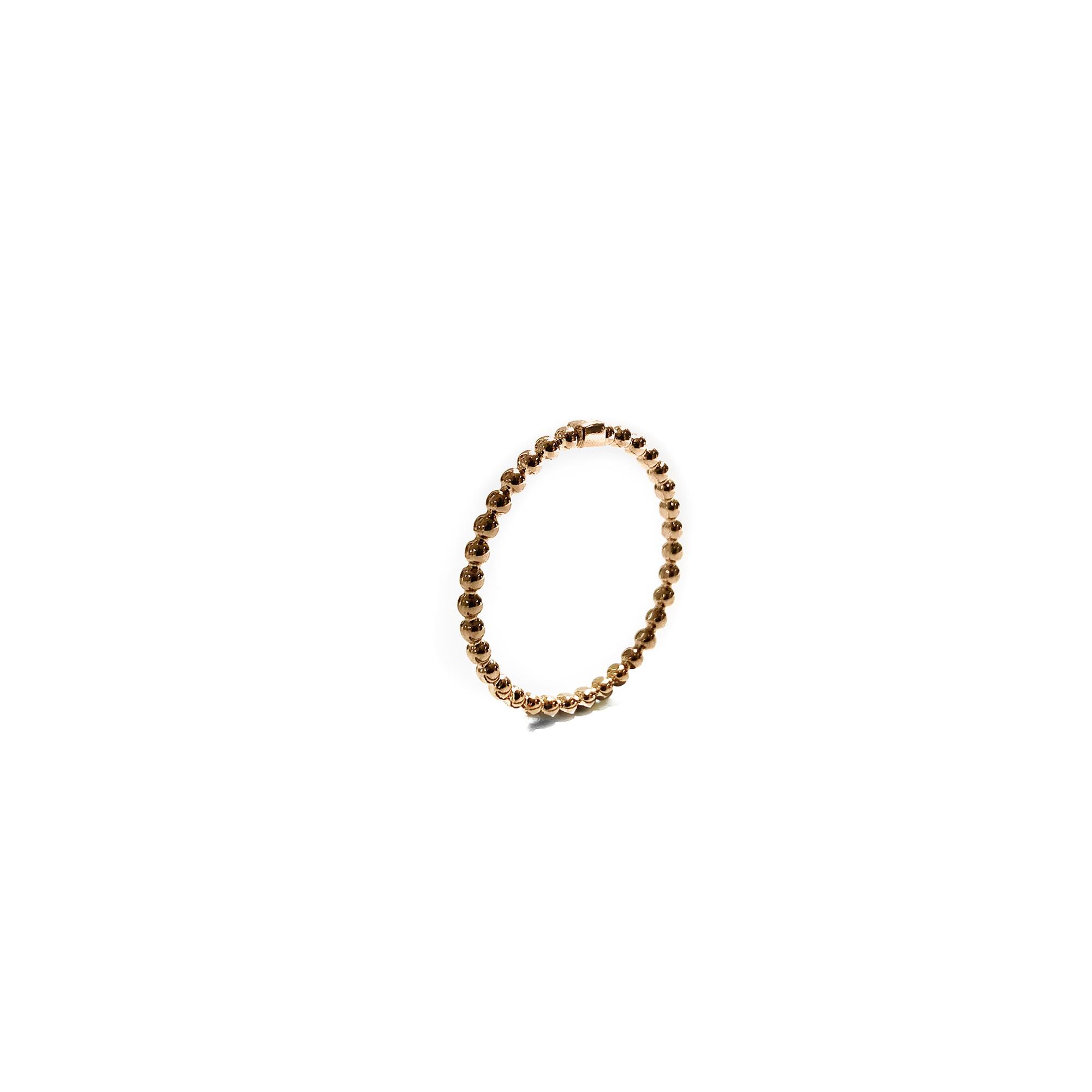 925 sterling zilver mini balletjes ring met blokje rose
