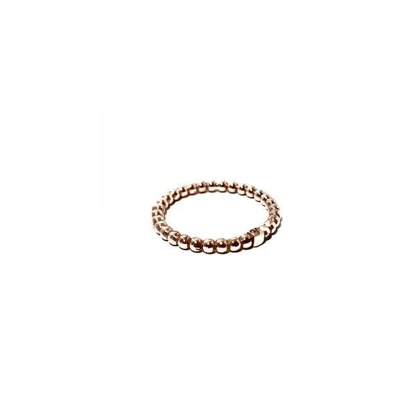 925 sterling zilver balletjes ring met blokje rose