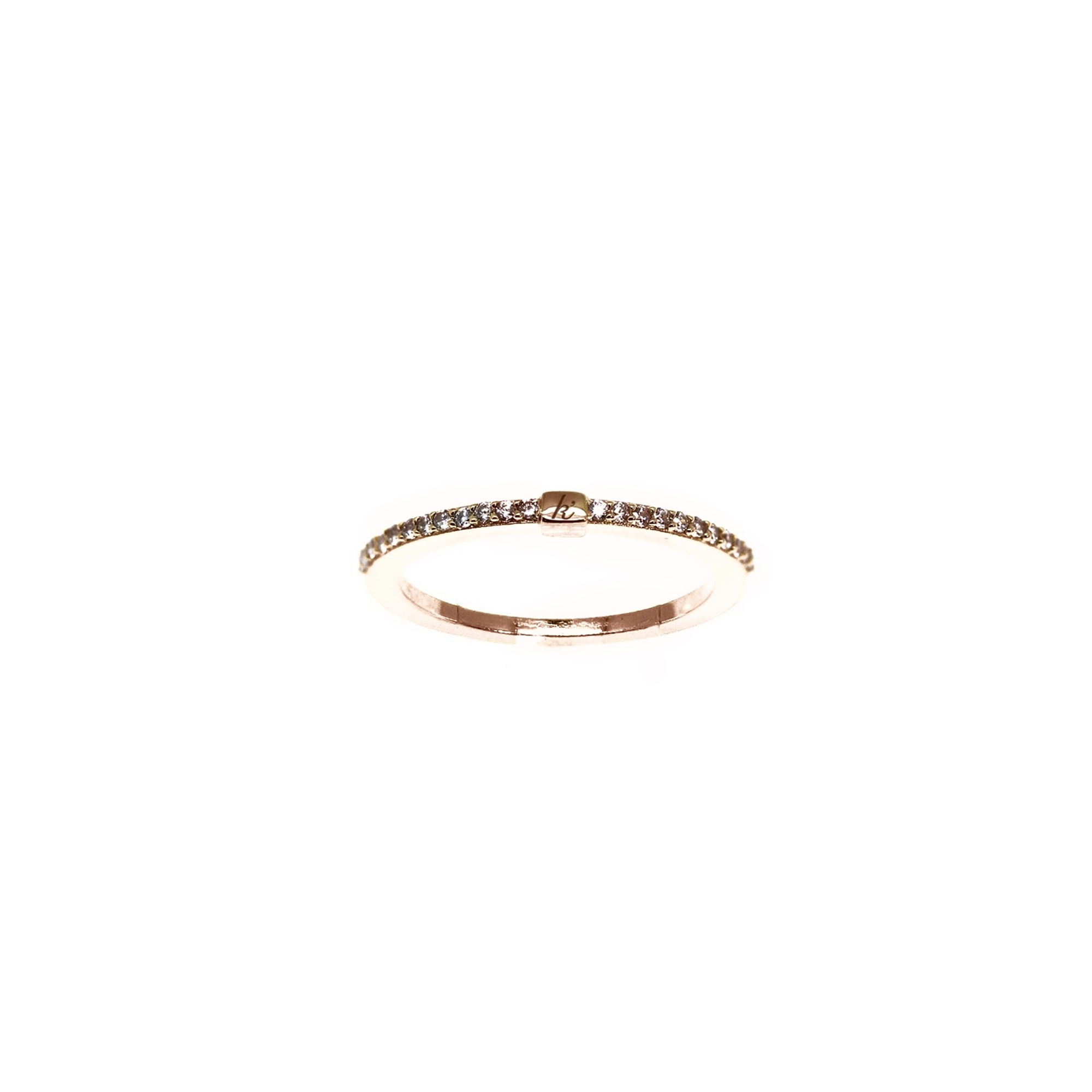 925 sterling zilver rose ring met zirkonia's en blokje