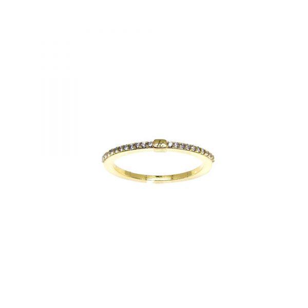 925 sterling zilver gouden ring met zirkonia's en blokje