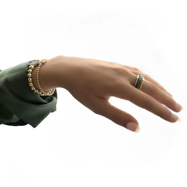 925 sterling zilver balletjes ring met blokje