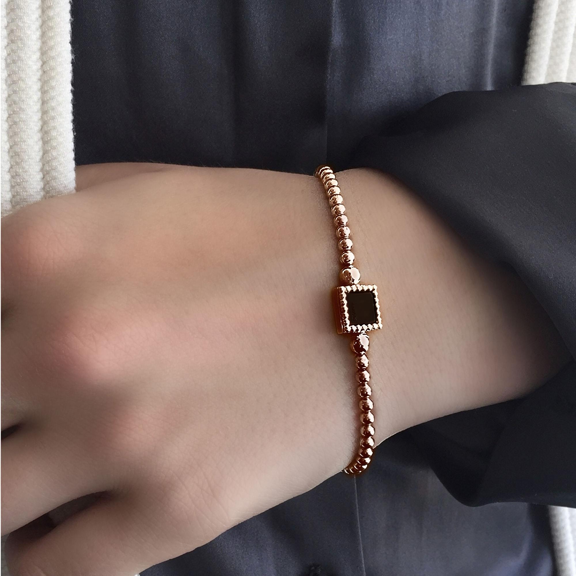 925 sterling zilveren flexibele armband vierkant rose