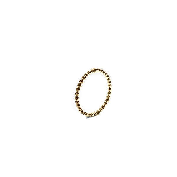 925 sterling zilver mini balletjes ring met blokje goud
