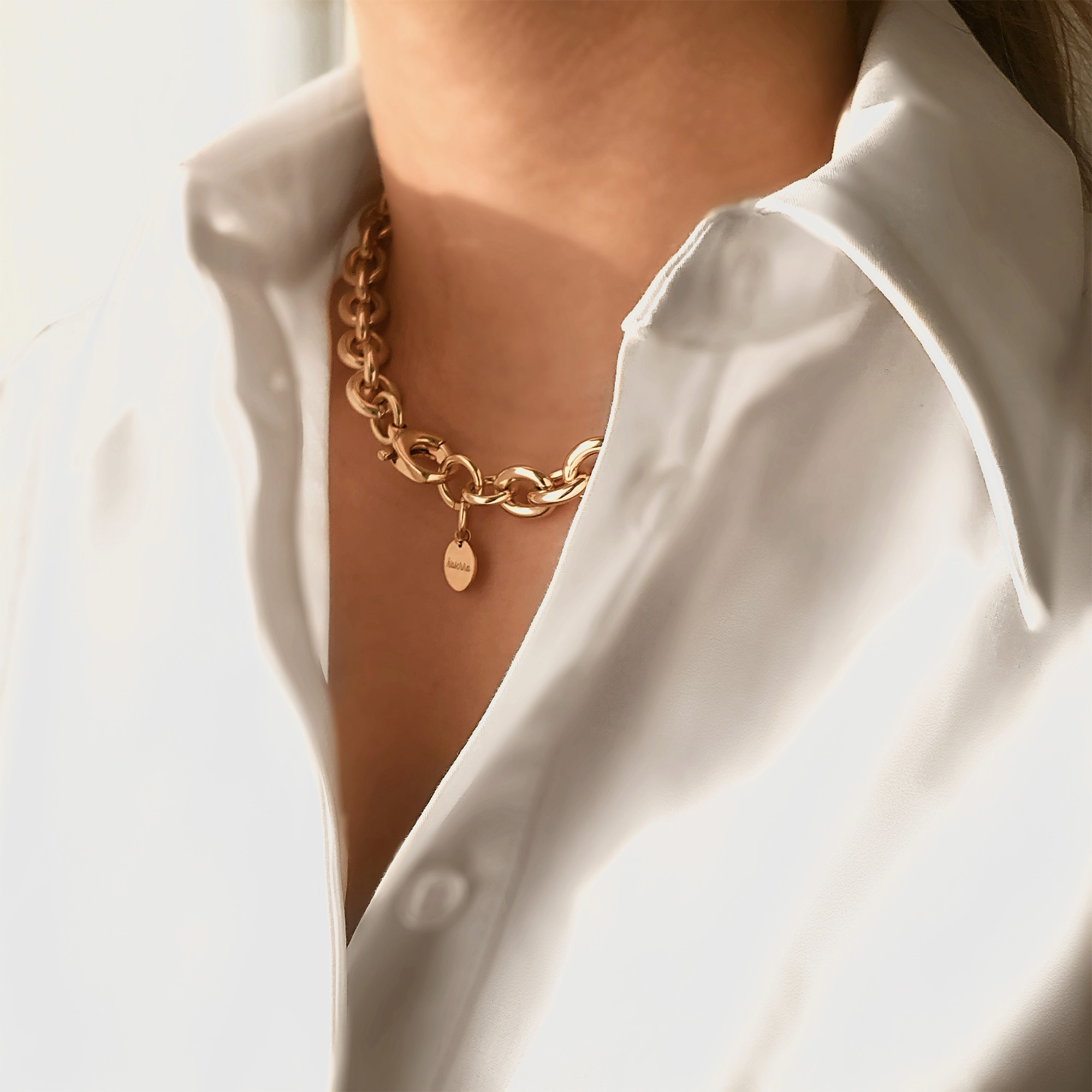 Goud plated jasseron collier