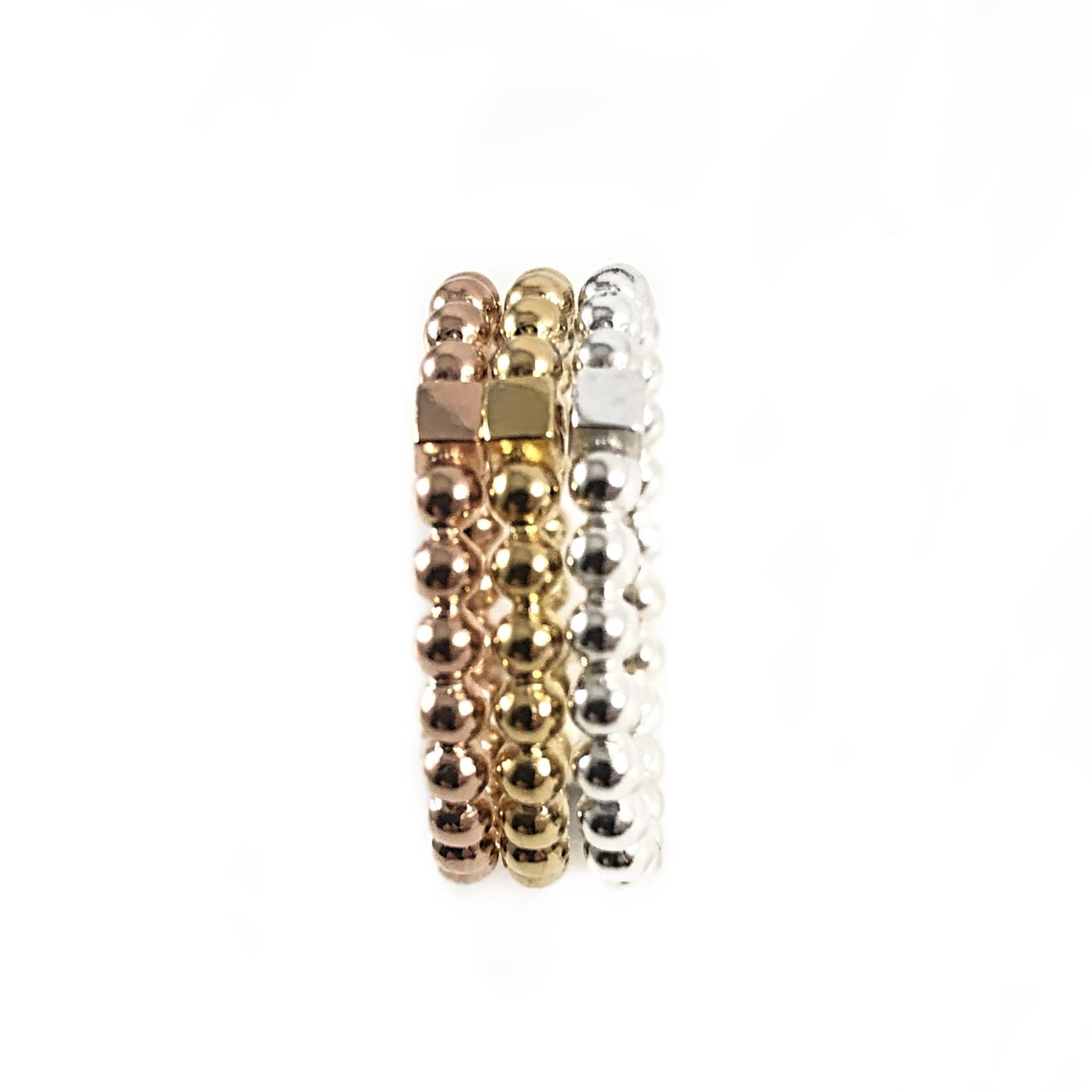 925 sterling zilver balletjes ring met blokje 2