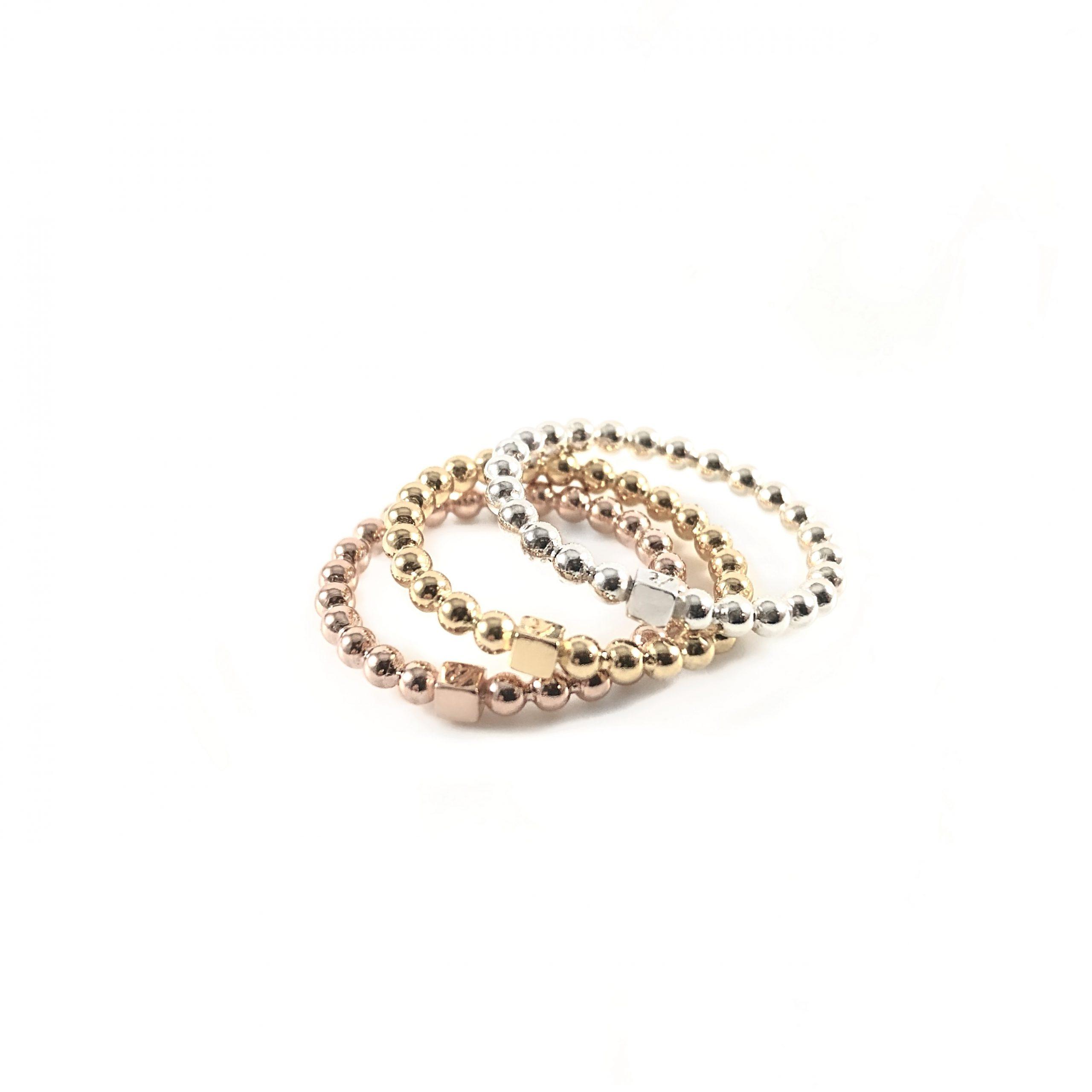 925 sterling zilver balletjes ringen met blokje 1