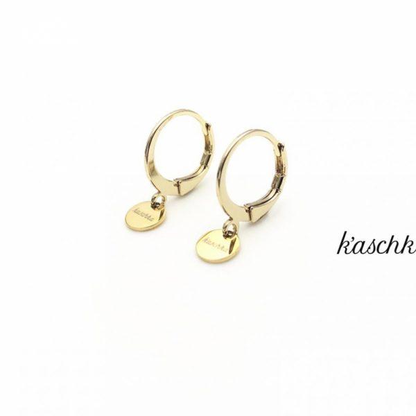 Goud plated & RVS oorbellen met een klein plat bedeltje