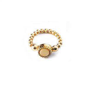 925 sterling zilver flex ring goud met vaste kleur kasminis rond