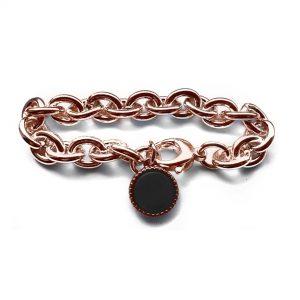 Armband jasseron rose plated ovalen schakel