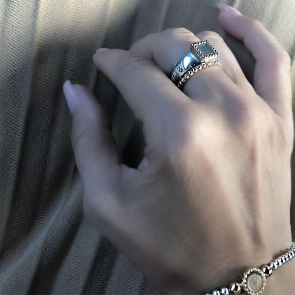 925 sterling zilveren ring met 18 karaats gouden rand vierkant kasminis