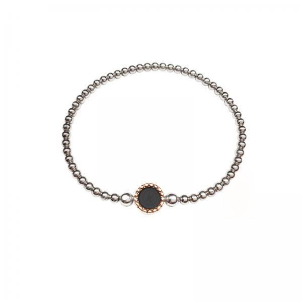 925 sterling zilver bicolor flex armband ronde kasminis zilver-rose
