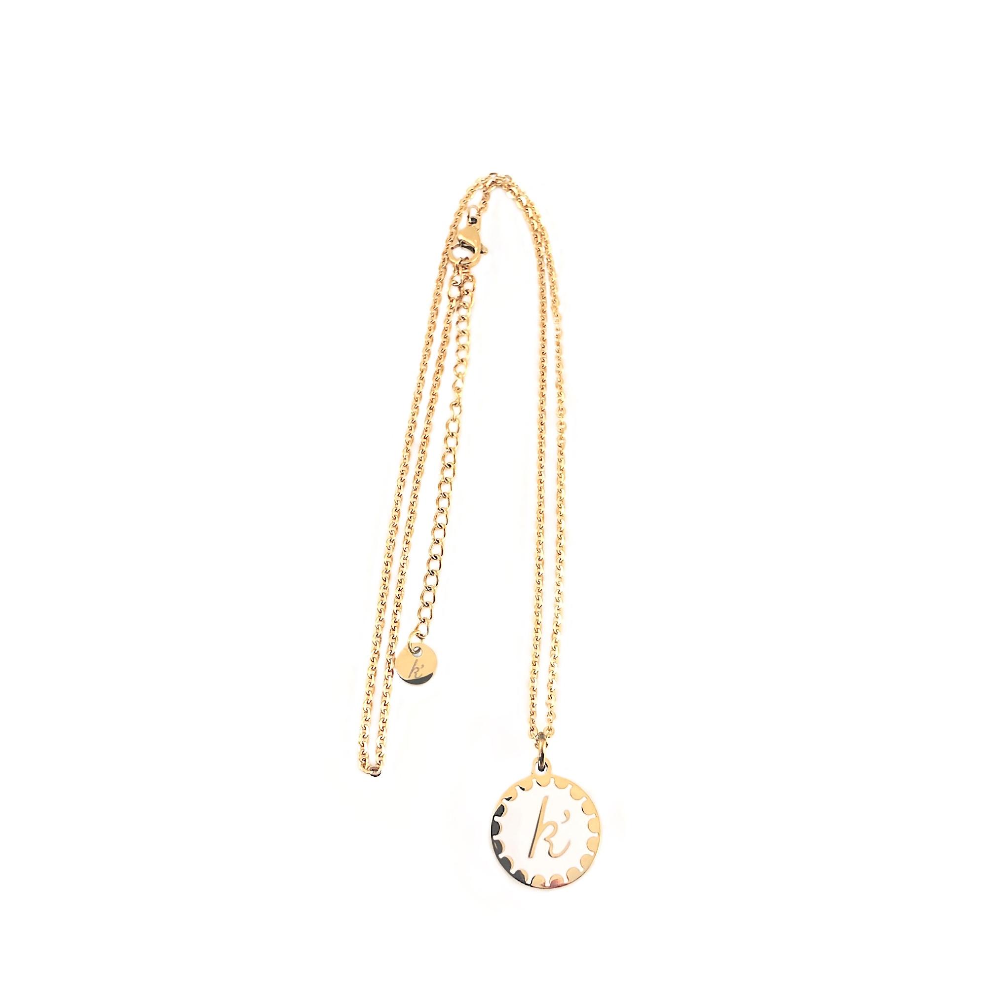 Edelstaal jasseron ketting met sierlijke platte bedel goud