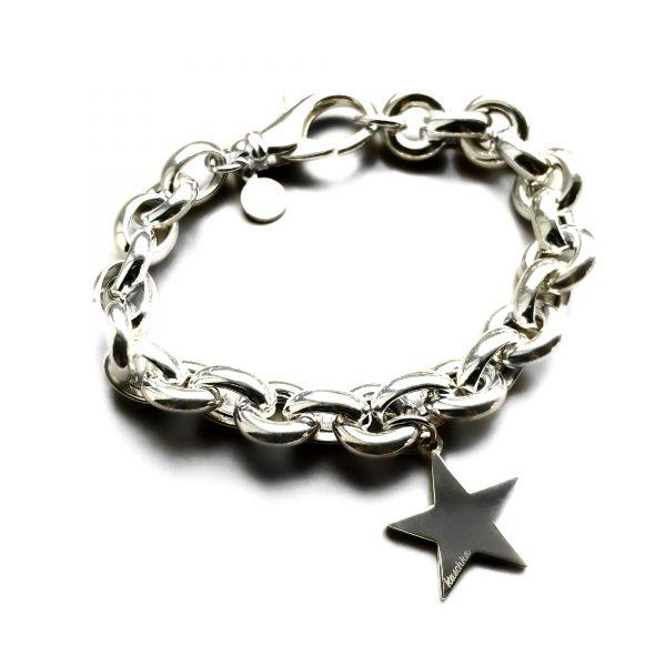 925 sterling zilveren armband grove schakel met ster