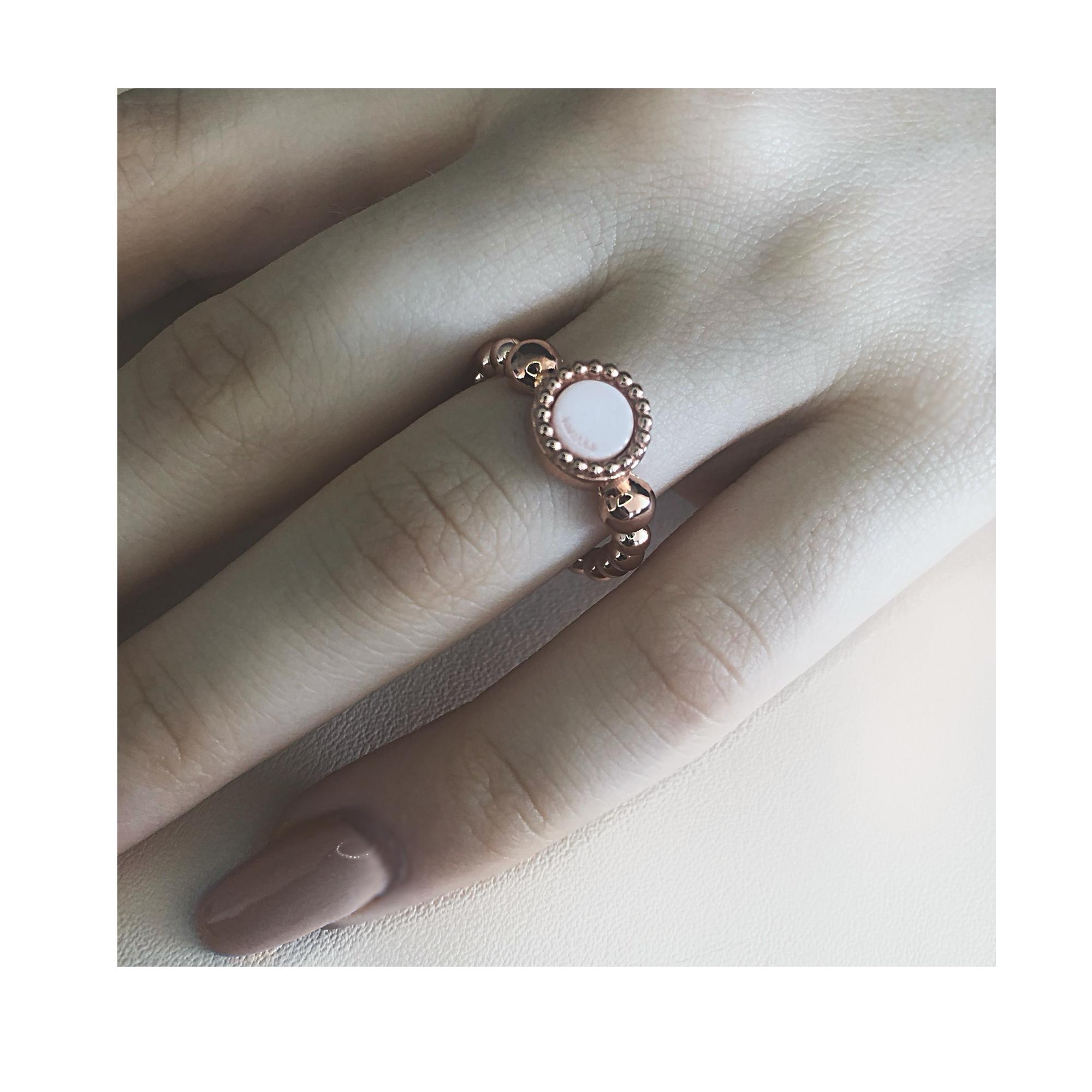 925 sterling zilver flex ring rose met vaste kleur kasminis rond
