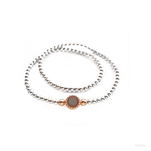 925 sterling zilver long flex armband bicolor rose