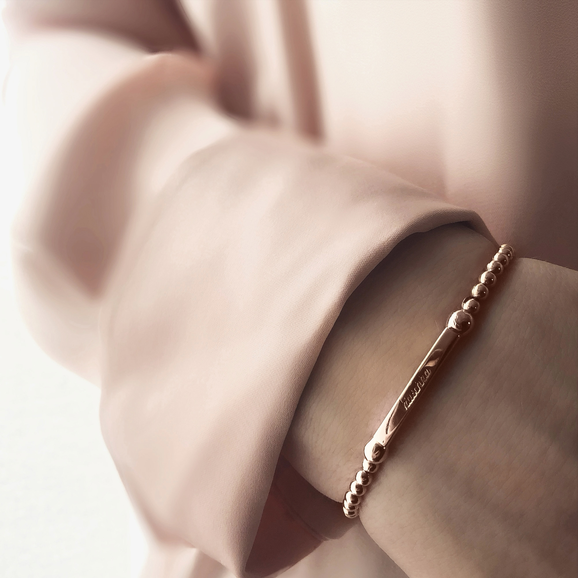 armband met staafje rosé