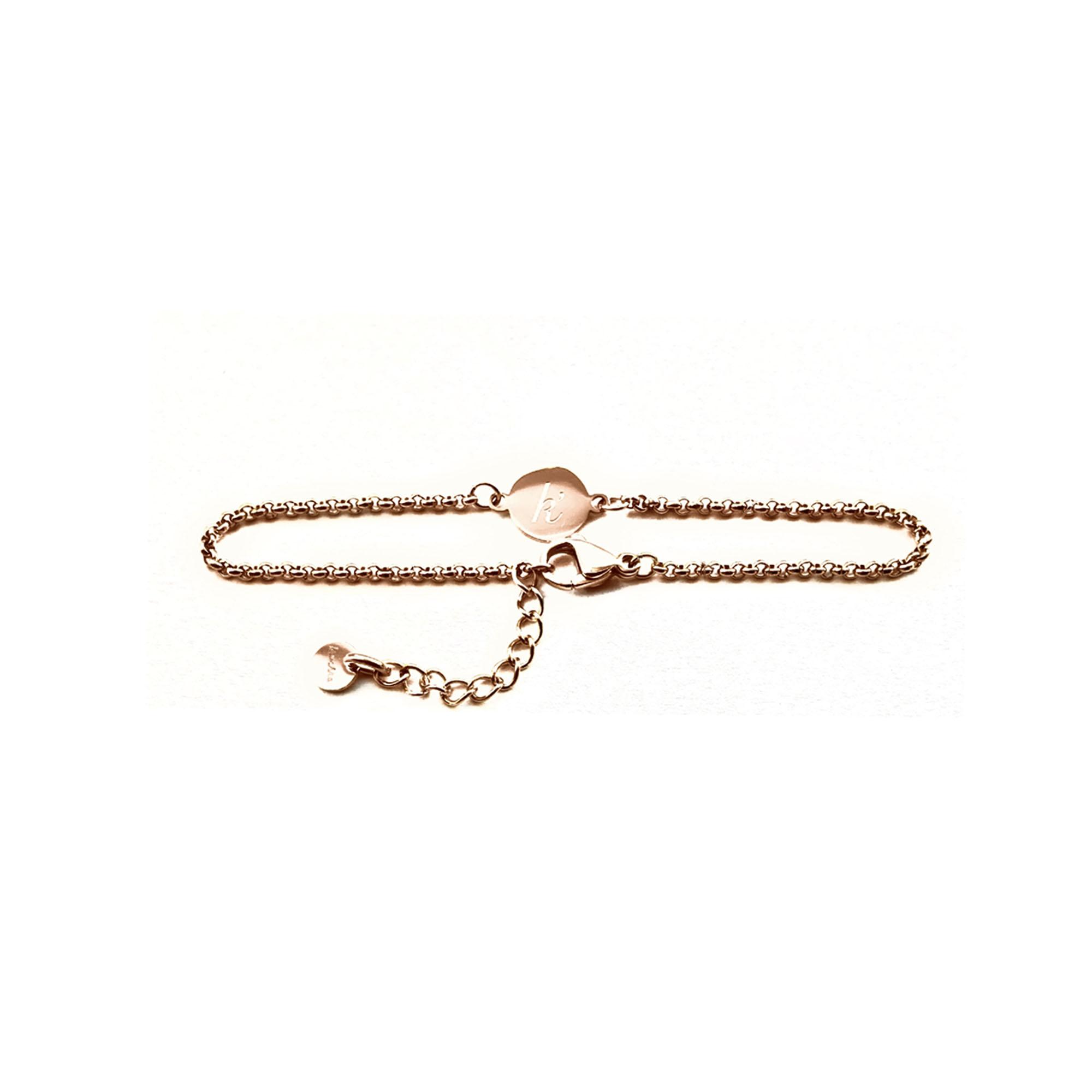 Verstelbaar rose plated RVS STEEL armbandje met plat bedeltje