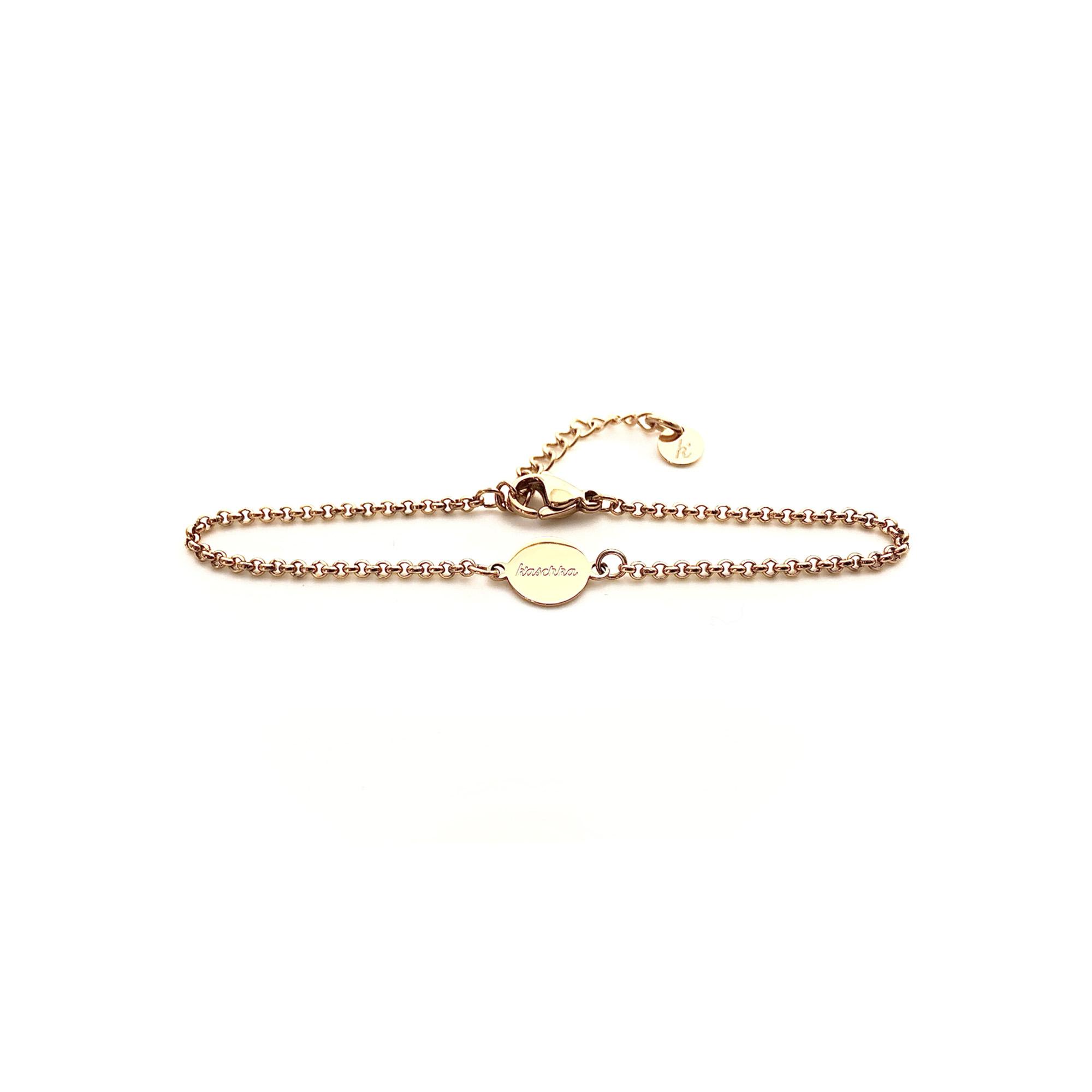 Verstelbaar goud plated armbandje met RVS plat bedeltje