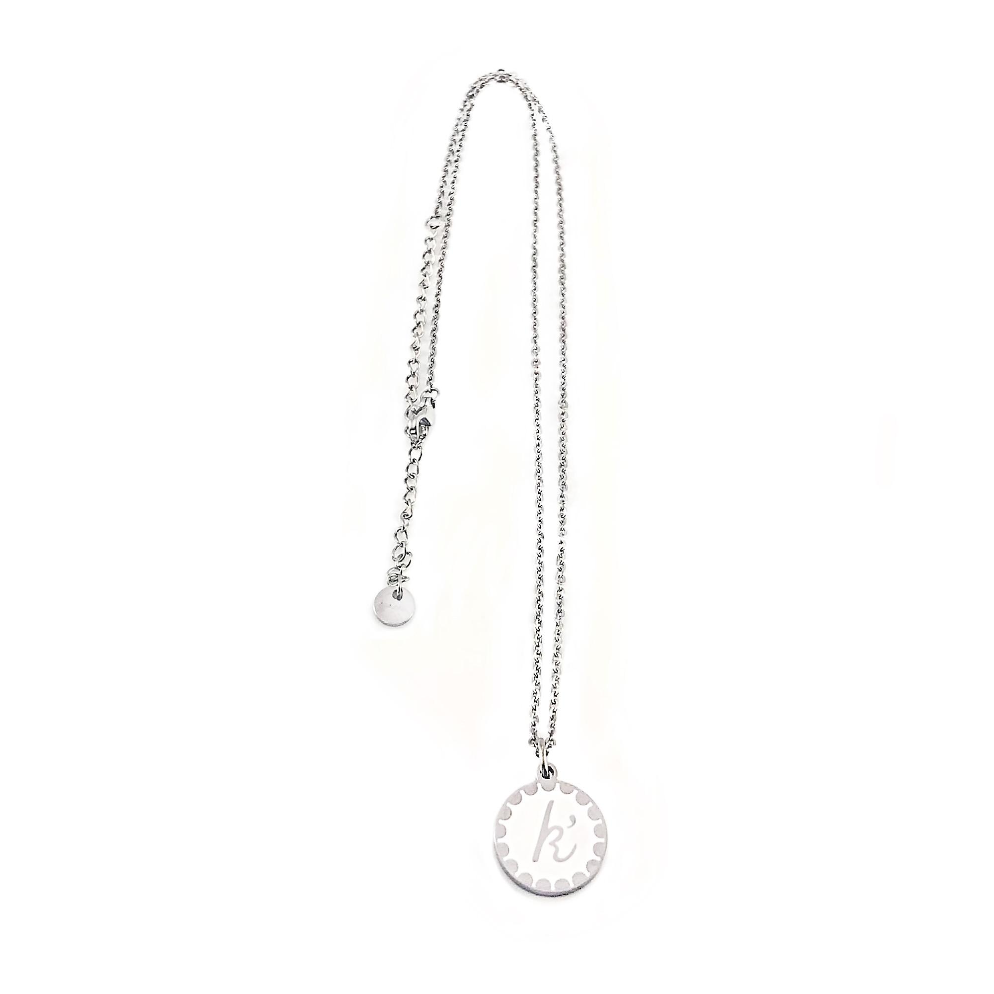 Edelstaal jasseron ketting met sierlijke platte bedel zilver