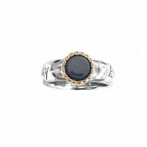 925 sterling zilver ronde kasminis ring met massief 18 karaats goud