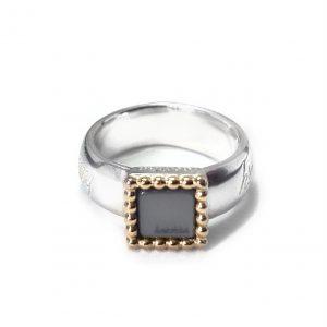 925 sterling zilver met 18 karaats gouden rand ring vierkant kasminis