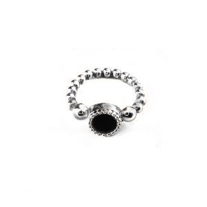 sterling zilver flex ring met vaste kleur kasminis rond