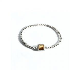 Steel deluxe flex armband zilver met gouden inlay