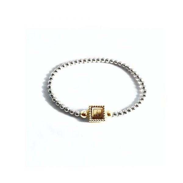 Steel deluxe flex armband bicolor goud met gouden inlay
