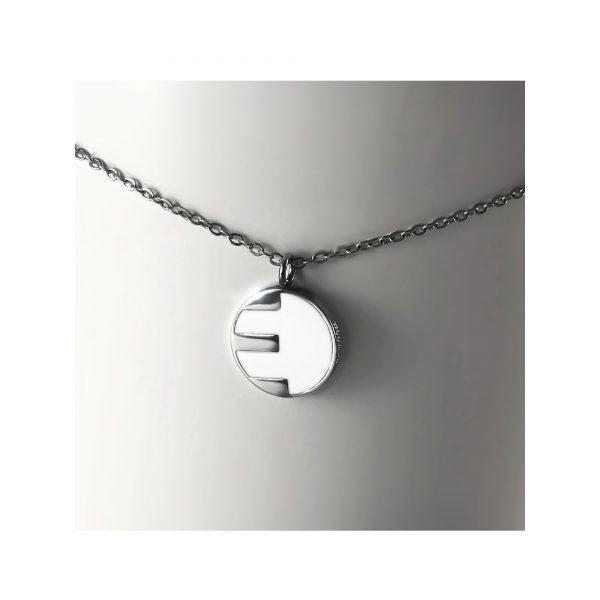 Alphakas ketting steel zilver initial