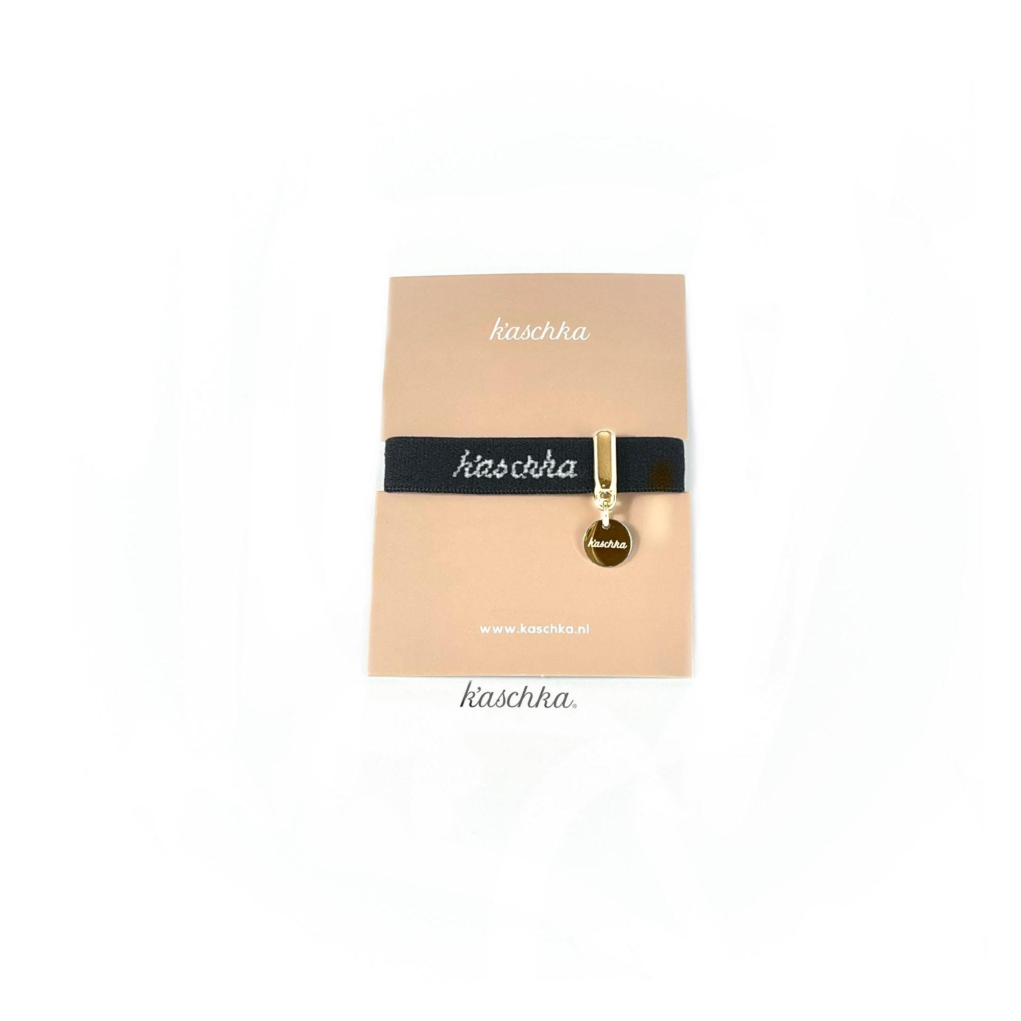 Elastische lint armband goud plat bedel midi