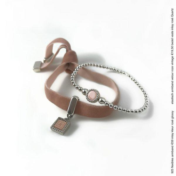 Elastische velour-armband bedel kasmini's kleur
